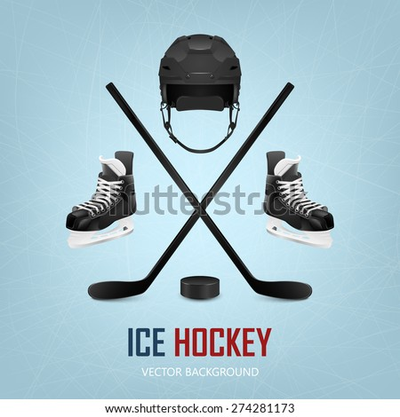 Ice hockey helmet, puck, sticks and skates on ice rink background. Vector EPS10 illustration.  - stock vector