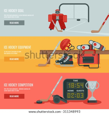 Ice hockey horizontal banners set with equipment cup and goal flat isolated vector illustration  - stock vector