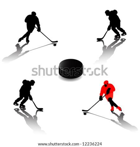 Ice hockey players (silhouette) - stock vector
