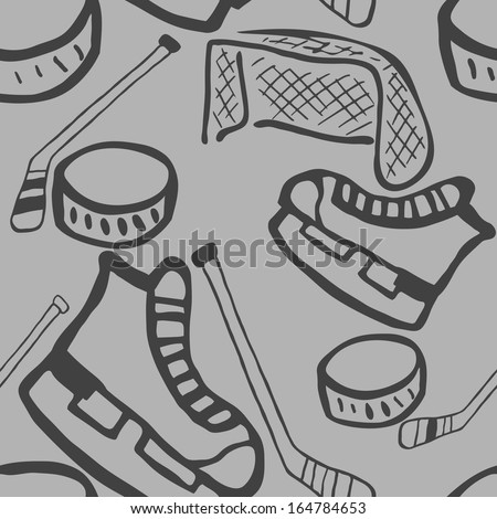 Ice hockey seamless background with equipments. - stock vector