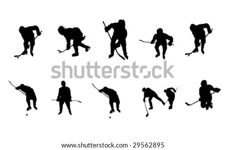ice hockey vector silhouettes - stock vector