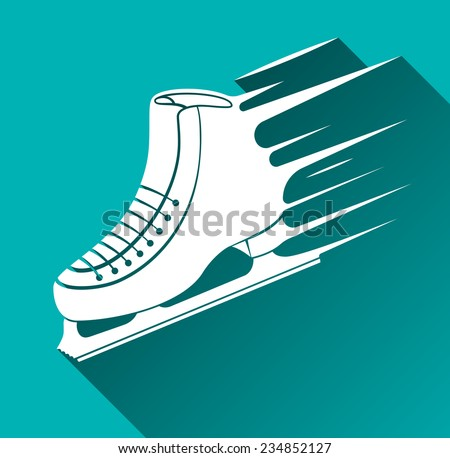 Ice Skate Icon, Speed Concept, Long Shadow, Vector Illustration - stock vector