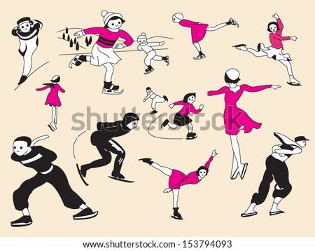 Ice skating male and female vector illustration set - stock vector