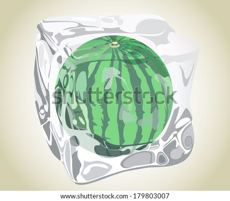 Ice water-melon - stock vector