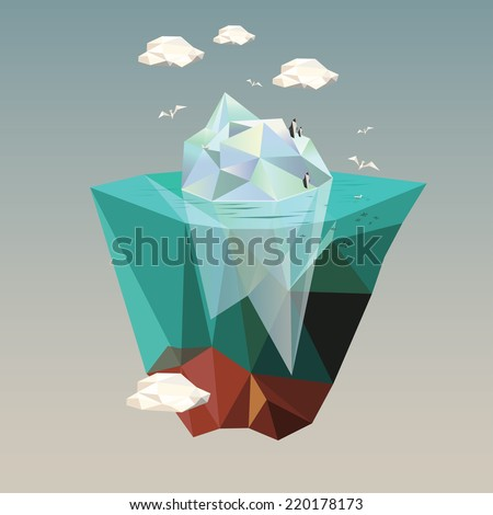 iceberg with penguins  low poly illustration  - stock vector