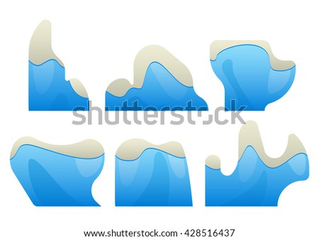 icebergs are several types with snowy peaks cartoon - stock vector