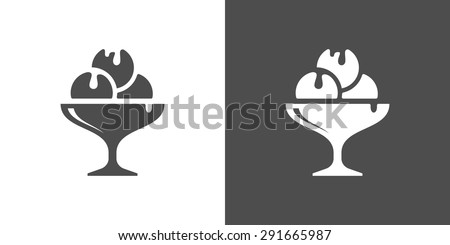 Icecream icon. Two-tone version of icecream vector icon on white and black background. A cocktail glass of ice cream, with whipped cream - stock vector