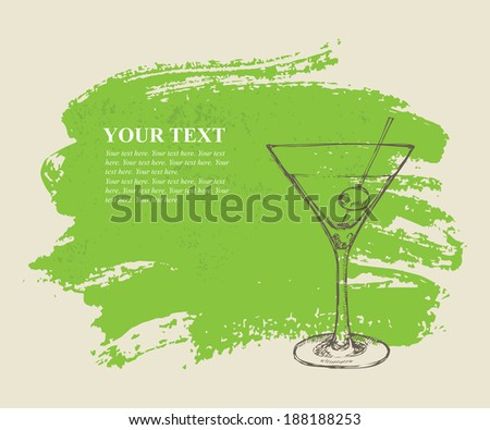 Iced cocktail on green grunge background - stock vector