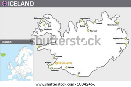 Iceland - stock vector