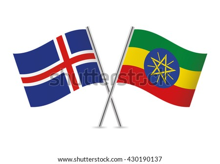 Icelandic and Ethiopian flags. Vector illustration. - stock vector