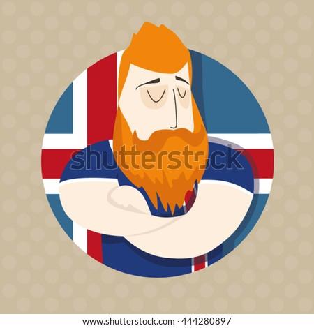 Icelandic football player  - stock vector