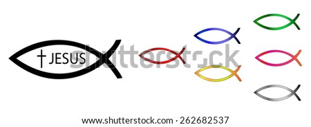 "Ichthys Christian sign vector illustration set. Conceptual illustration - Christians ""swim"" after Jesus. - stock vector"
