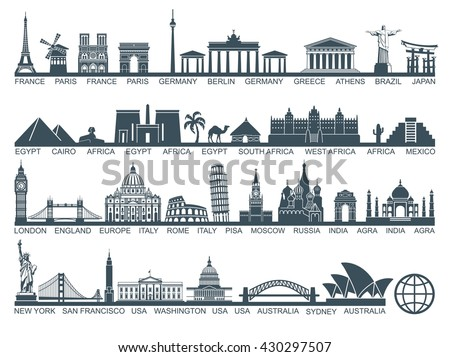 Icon architectural monuments and world tourist attractions - stock vector