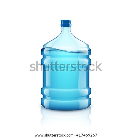 Icon big bottle with clean water. Plastic container for the cooler. Isolated on white background. Stock vector illustration. - stock vector