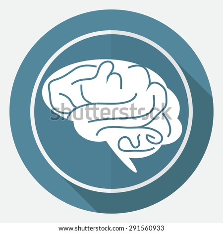 Icon brain on white circle with a long shadow - stock vector
