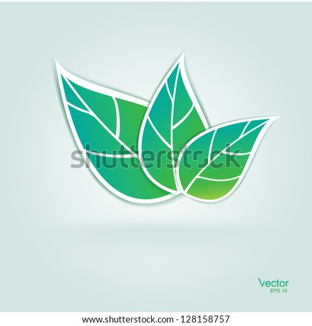 icon branch with fresh green leaves vector - stock vector
