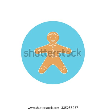 Icon Christmas Gingerbread Man Decorated White Icing and Cream, Cookie Gingerbread Man , Happy New Year Festive Biscuit Man,Icon  Christmas Decoration,  Vector Illustration - stock vector