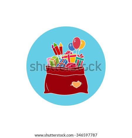 Icon Colorful Bag of Santa Claus with Gifts , a Bag with Gifts and Multicolored Firecrackers and Balloons, Icon Christmas Decorations, Vector Illustration - stock vector
