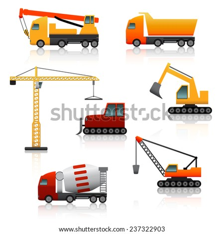 icon construction equipment  	crane, scoop, mixer with reflection on a white background - stock vector