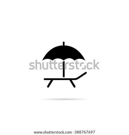Icon deckchair with an umbrella. - stock vector