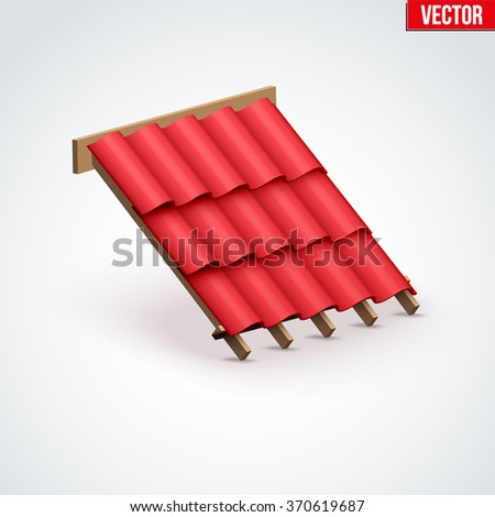 Icon demonstration red ceramic tiles cover on the roof.  Vector Illustration isolated on white background. - stock vector
