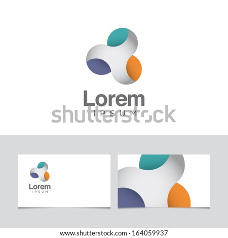 Icon design element with business card template  - stock vector