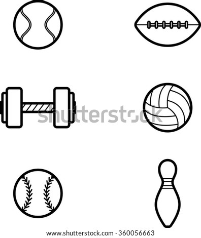 Icon designs and illustrations with a sports theme. - stock vector