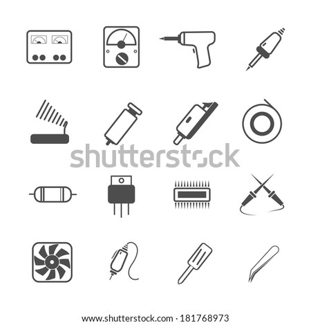 icon electronic repair tool, vector - stock vector