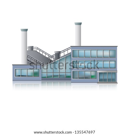 Icon Factory and office building. - stock vector