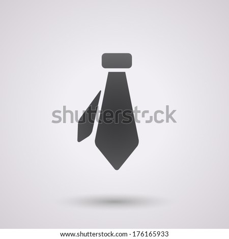 icon flat necktie, isolated, shaded, black color - stock vector