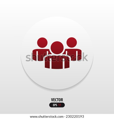 icon flat people in red. Vector - stock vector