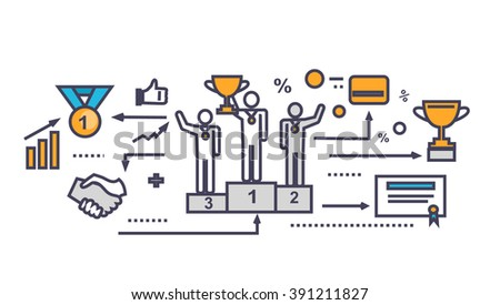 Icon flat style design successful team. Success people and businessman, corporate teamwork partner person, finance support, together job, company financial business achievement. Thin line outline icon - stock vector