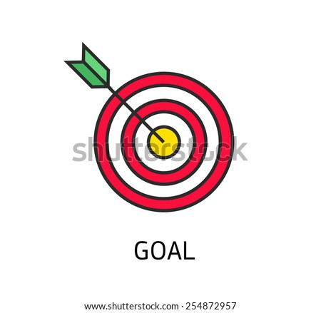 icon flat target with dart isolated goal, modern linear style - stock vector