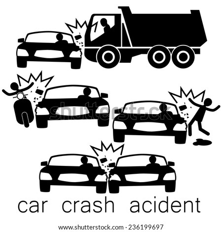 Icon for car crash acident on Side collision - stock vector