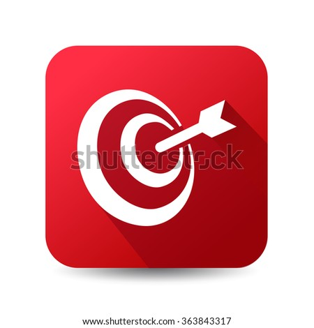 Icon for main objective, target vector icon, red button - stock vector