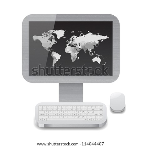 Icon for personal computer with grayscale world map on display. White background. Vector saved as eps-10, file contains objects with transparency. - stock vector