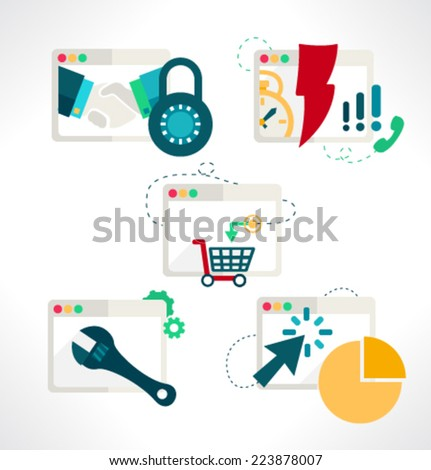Icon for website and mobile application. Flat design. Vector. Editable. Browsers motion. - stock vector