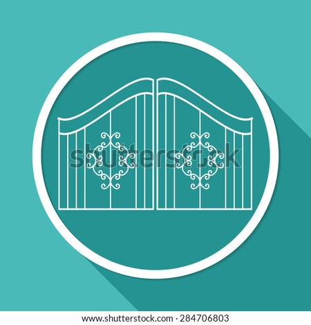 Icon gate on white circle with a long shadow - stock vector
