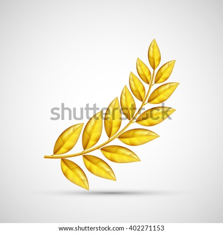 Icon gold olive branch. Symbol of victory and reward. Stock vector illustration. - stock vector