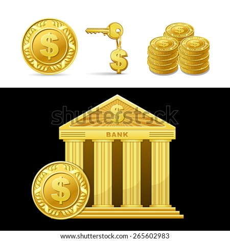 icon golden bank with money isolated - stock vector