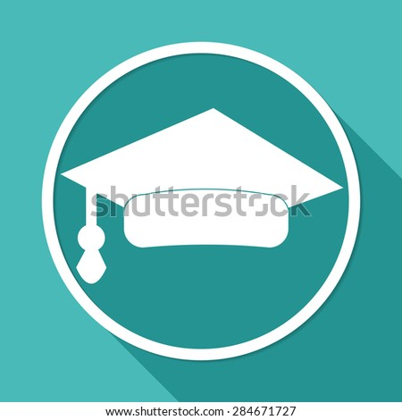 Icon Graduation cap on white circle with a long shadow - stock vector