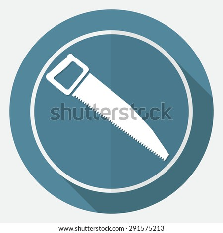 Icon hand saw on white circle with a long shadow - stock vector