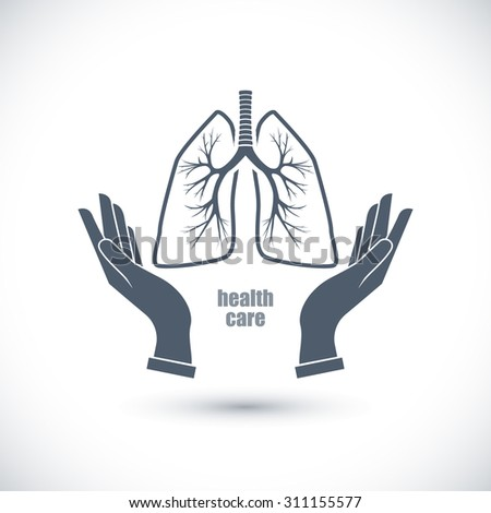 Icon Hands and lungs. Health care. - stock vector