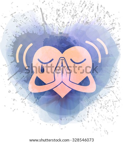 Icon heart that prays in a watercolor background - stock vector