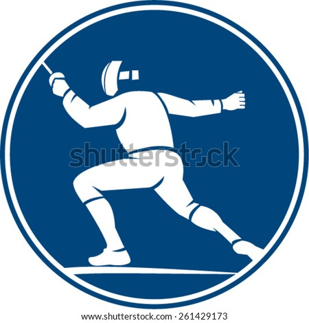 icon illustration of a man holding sword in fencing stance