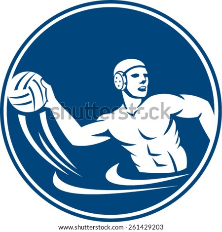 Icon illustration of a water polo player throwing ball set inside circle on isolated background done in retro style. - stock vector
