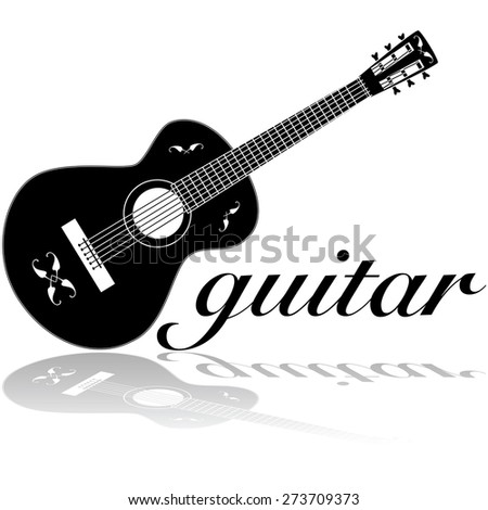 Icon illustration showing a classic guitar reflected on a white surface - stock vector