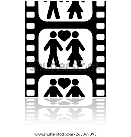 Icon illustration showing a couple in love inside a film strip - stock vector