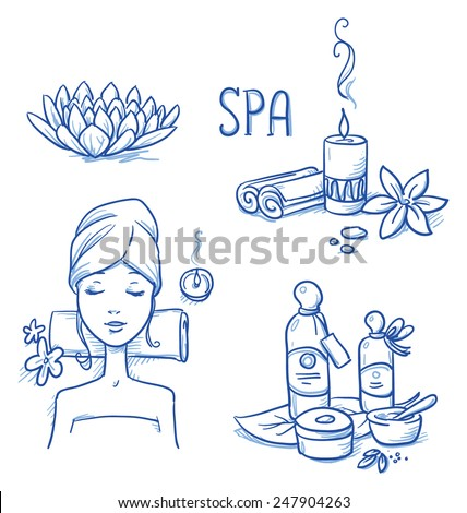 Icon item set wellness, spa, with relaxing woman, lotus flower, candle, cream and oil bottles, leafs and flowers. Hand drawn doodle vector illustration. - stock vector