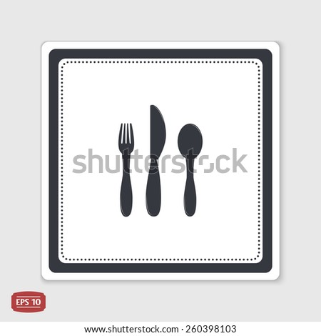 Icon knife, spoon and forks. Cafe restaurant. Flat design style. Made vector illustrator. Emblem or label with shadow. - stock vector